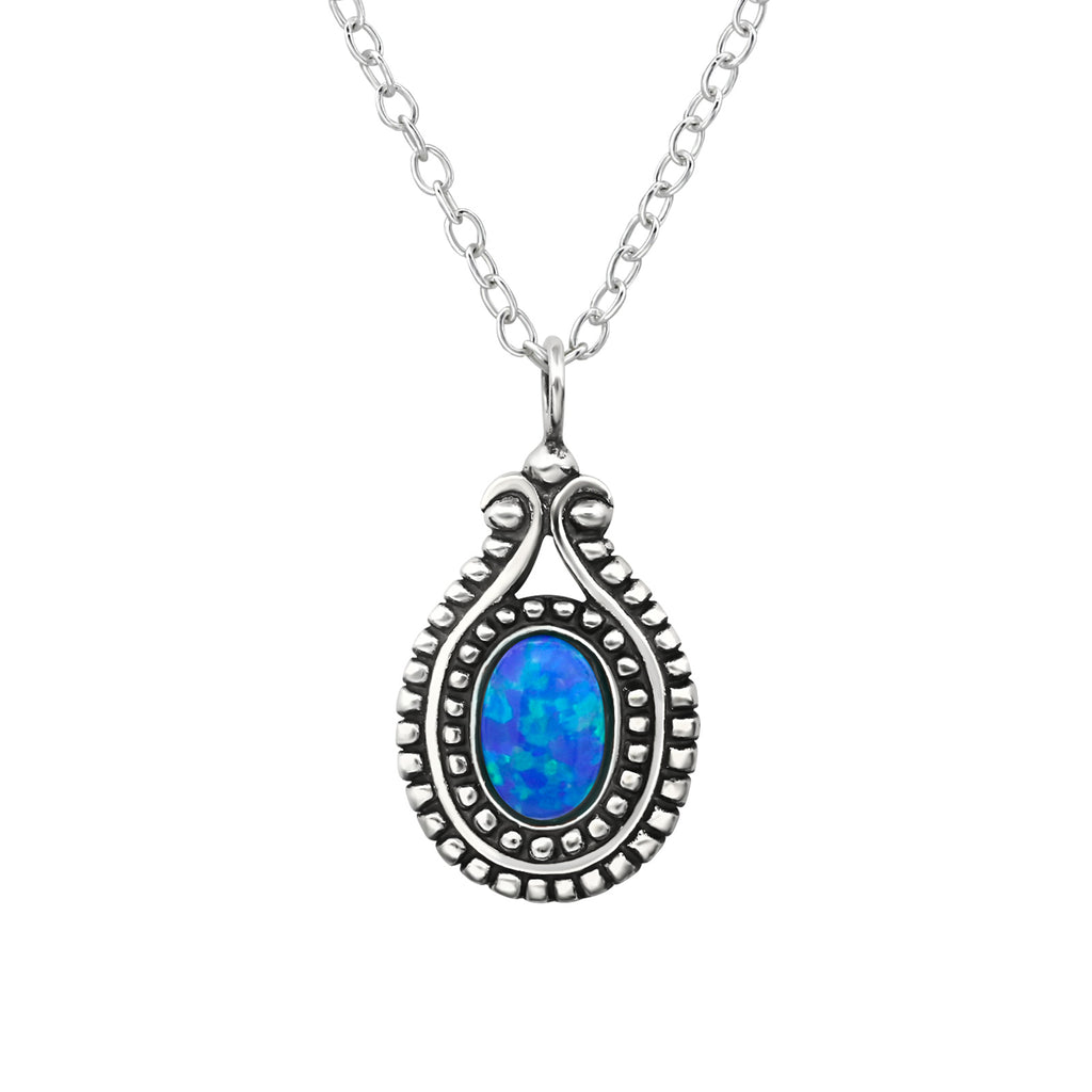 sterling silver crystal blue gemstone necklace - Jenems