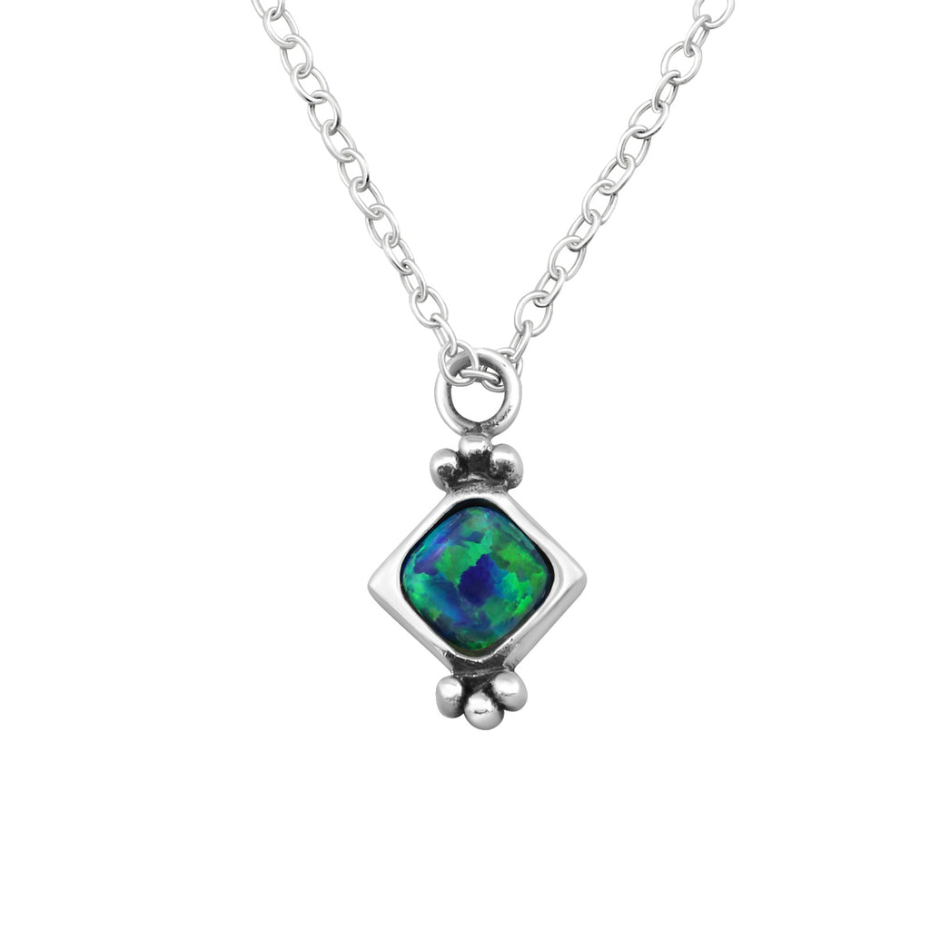 peacock blue square sterling silver necklace - Jenems
