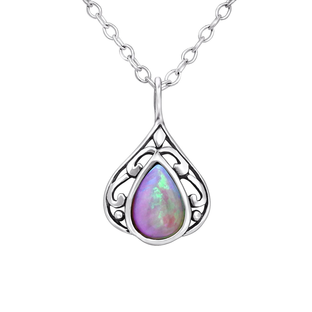 pink bubble gem teardrop sterling silver necklace - Jenems