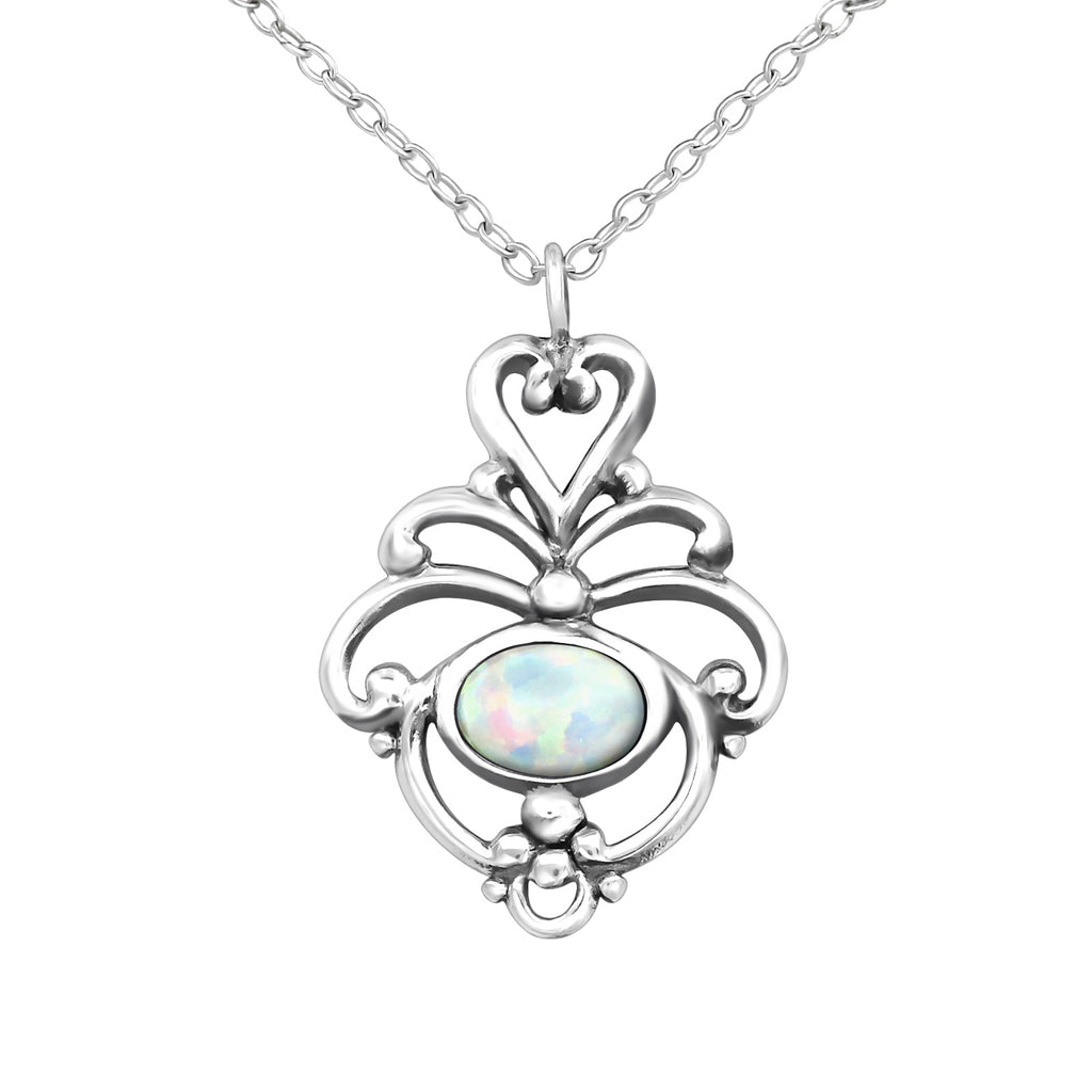 sterling silver fire snow flower gemstone necklace - Jenems
