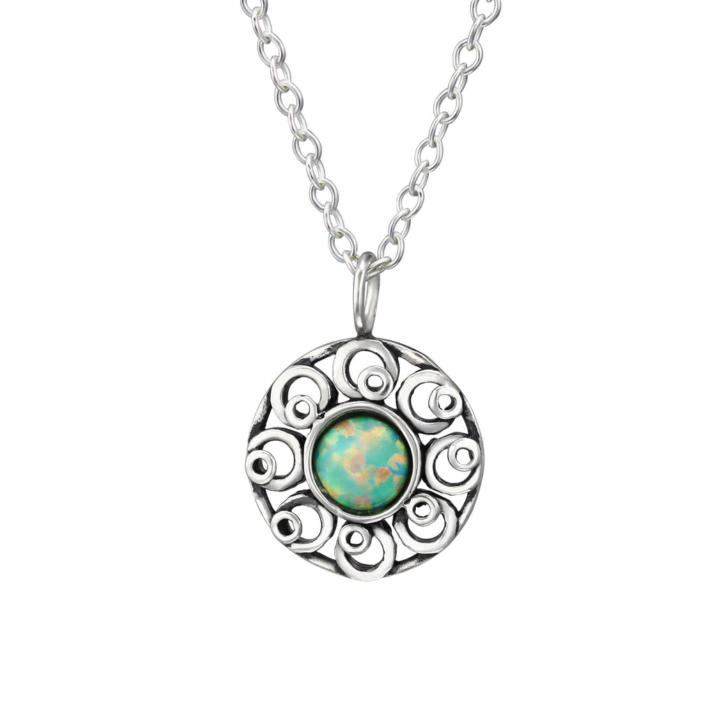 moon yellow circle flower sterling silver necklace - Jenems