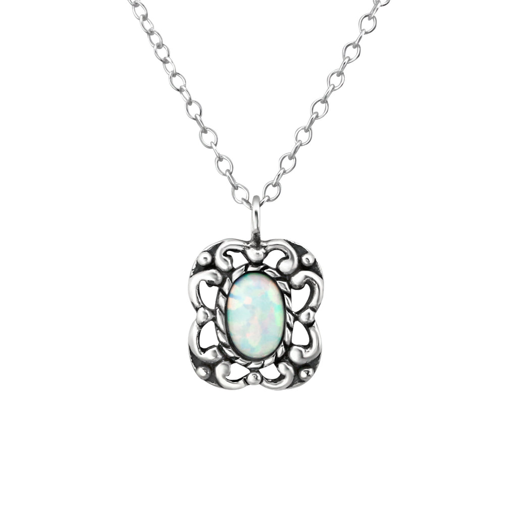 sterling silver fire snow square oval gemstone necklace - Jenems