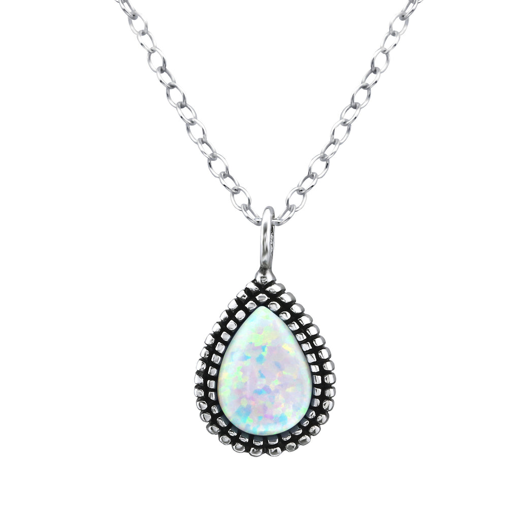 fire snow opal teardrop sterling silver necklace - Jenems