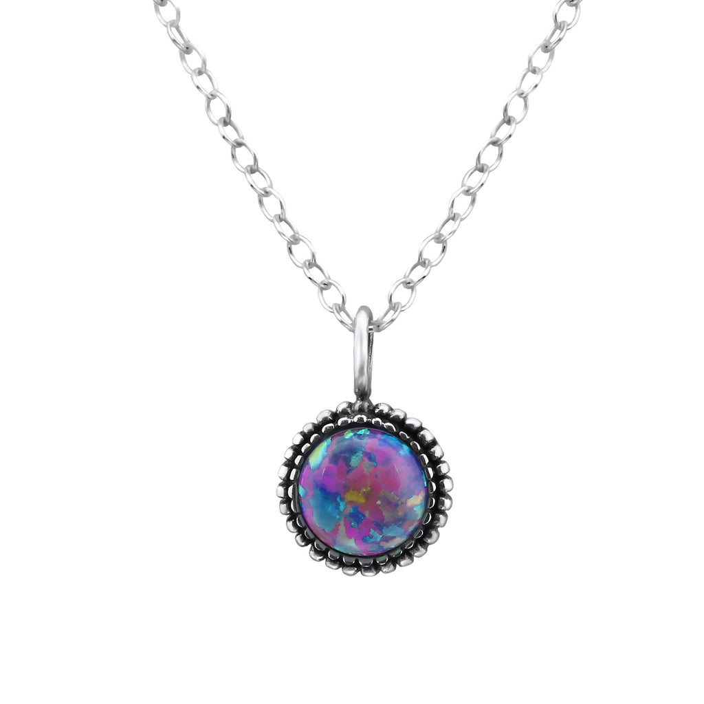 round lavender sterling silver necklace - Jenems