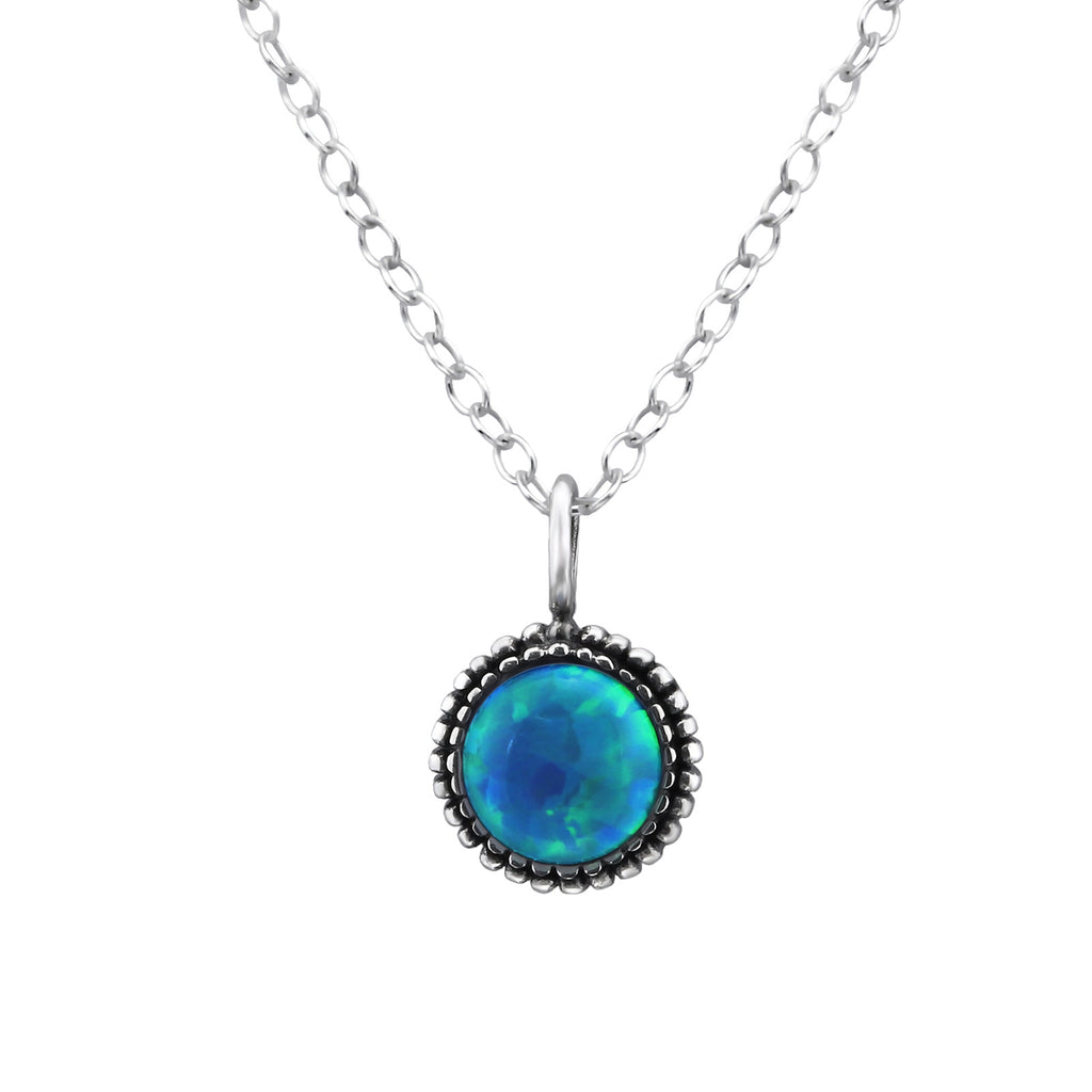 pacific blue gem stone sterling silver necklace - Jenems