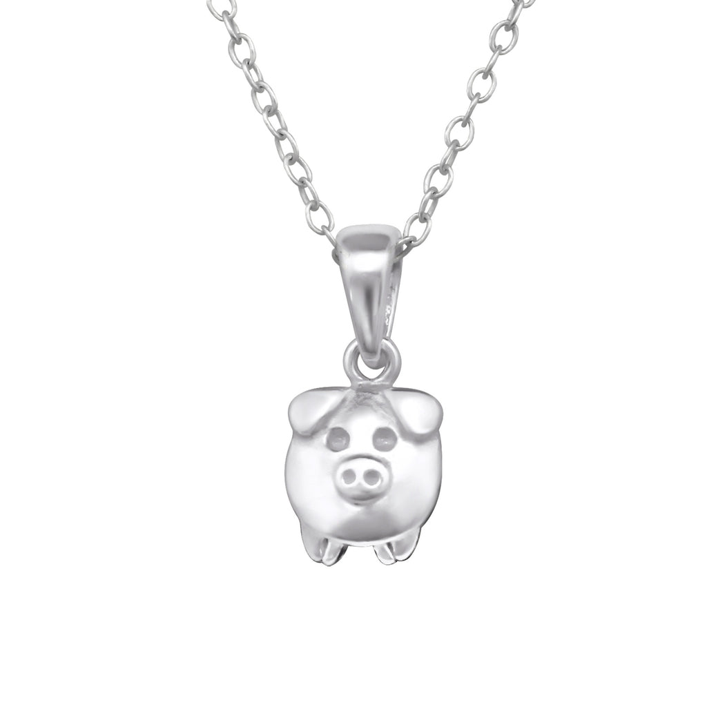 sterling silver pig face necklace - Jenems