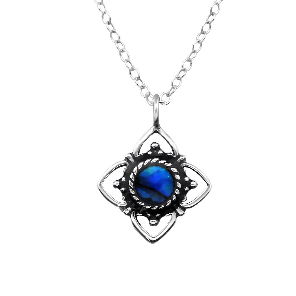 sterling silver abalone dark blue crystal flower necklace - Jenems