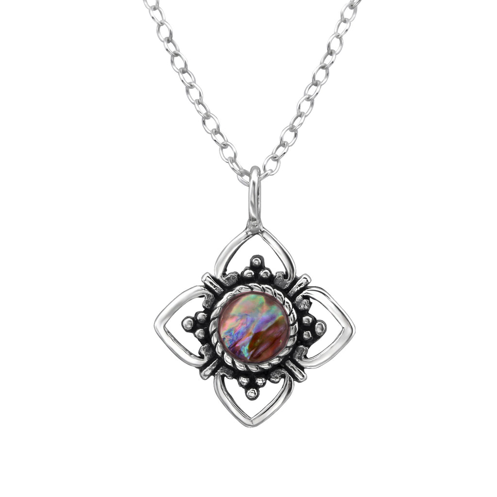 sterling silver abalone pink crystal flower necklace - Jenems