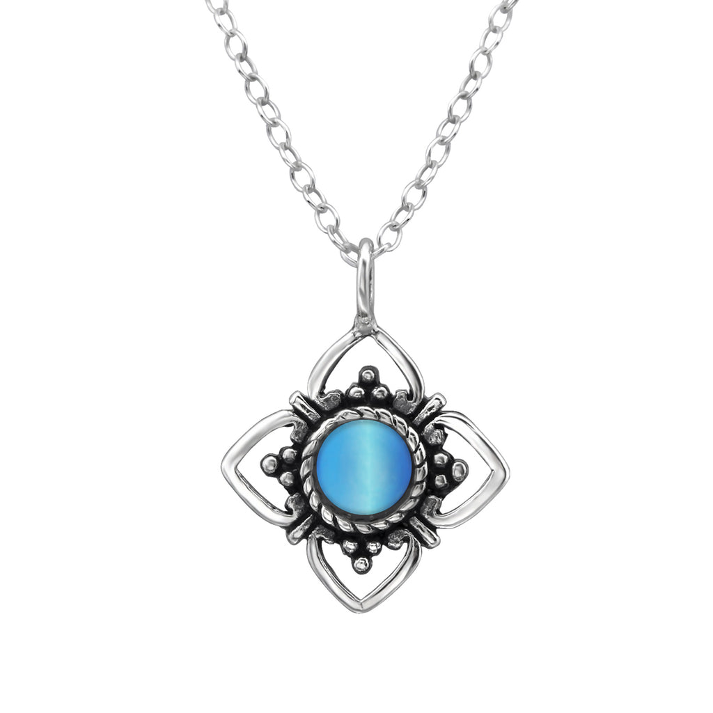 sterling silver blue chalcedony crystal flower necklace - Jenems