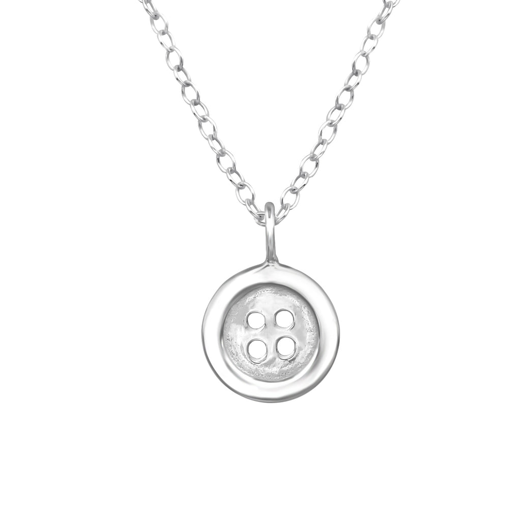 sterling silver button necklace - Jenems
