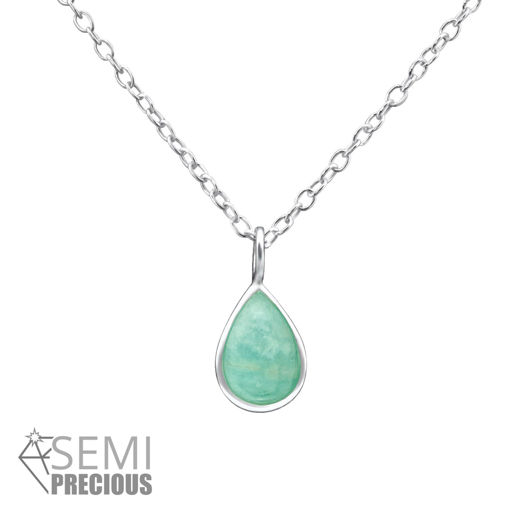 sterling silver pear amazonite gemstone necklace - Jenems