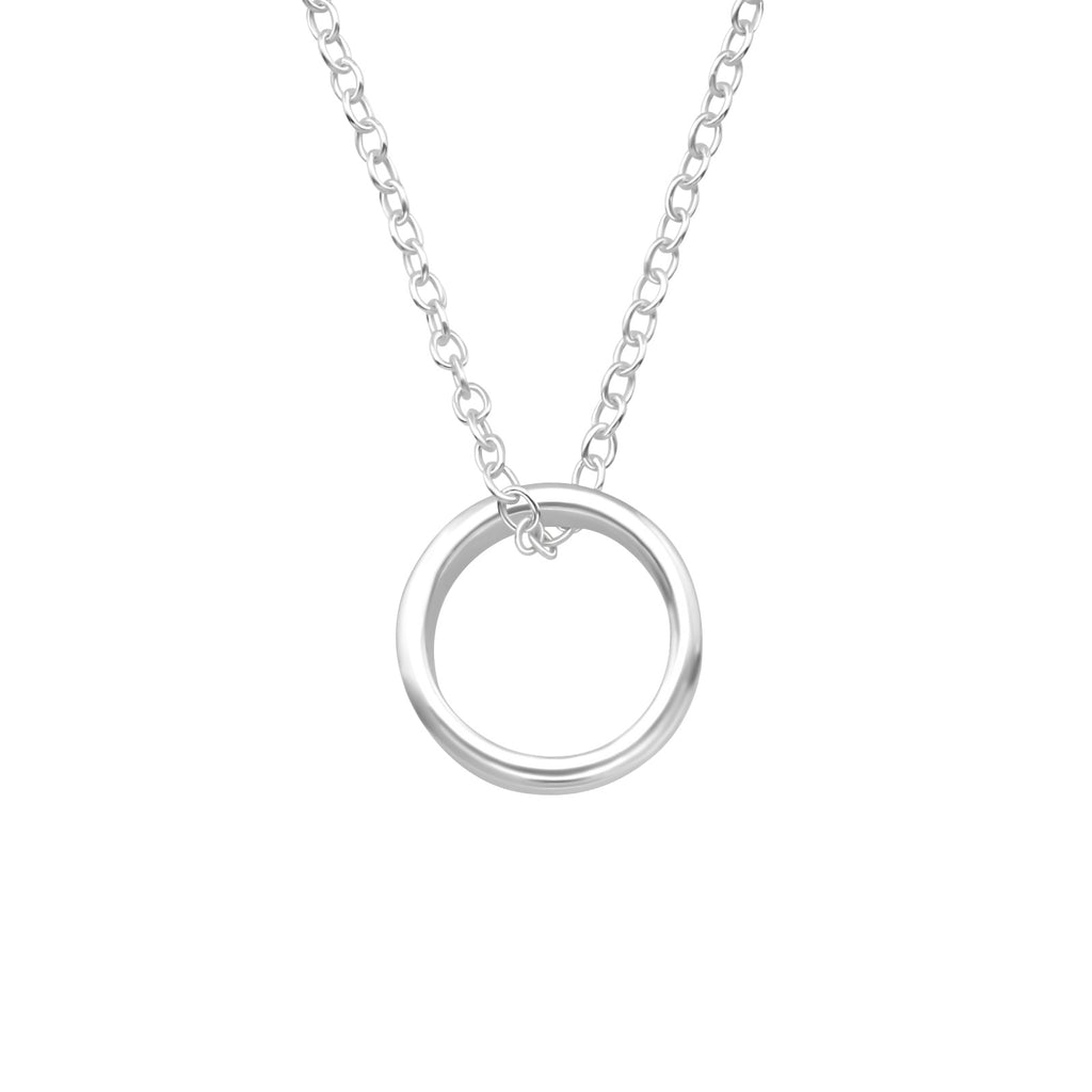 circle hoop sterling silver necklace - Jenems