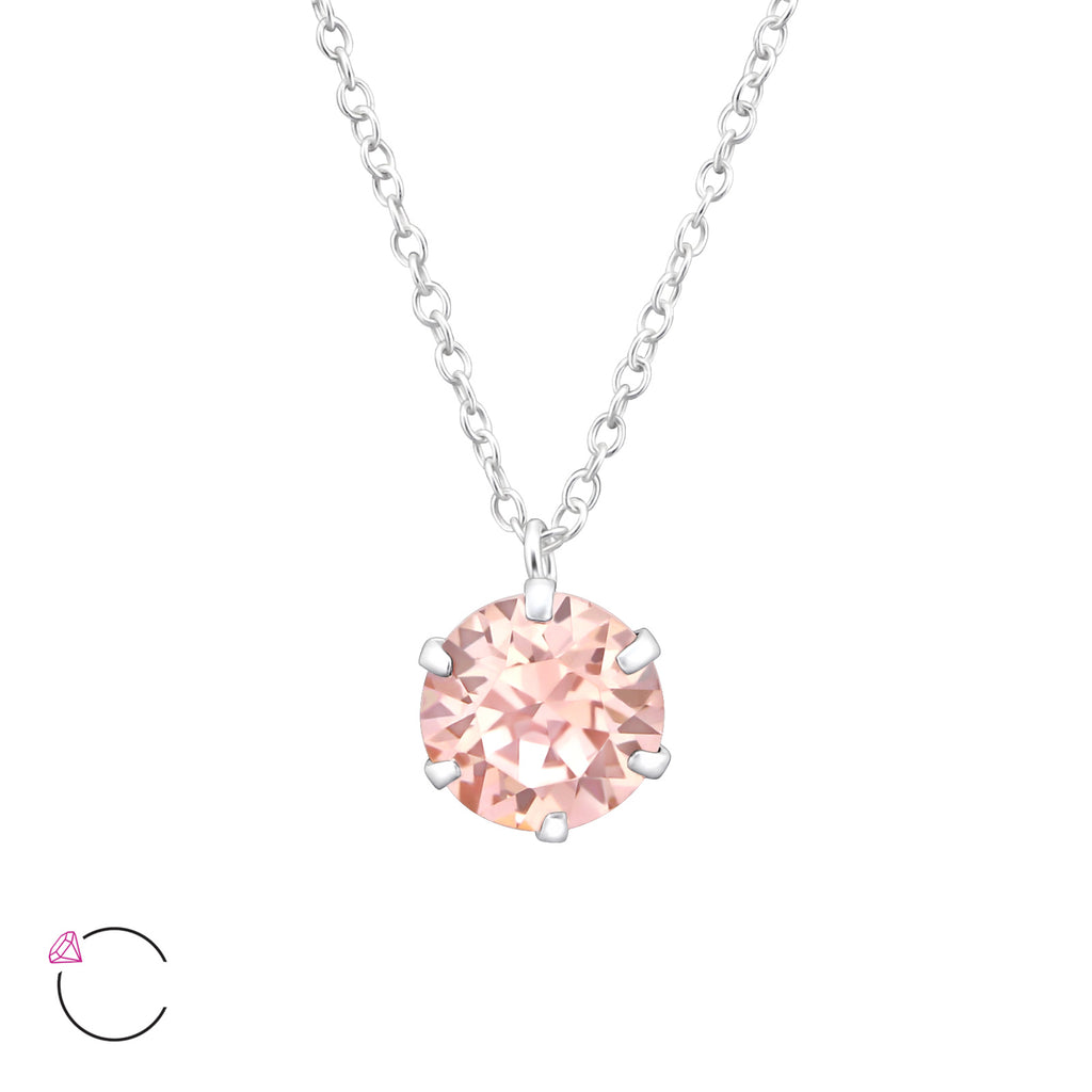 sterling silver Swarovski pink crystal necklace - Jenems