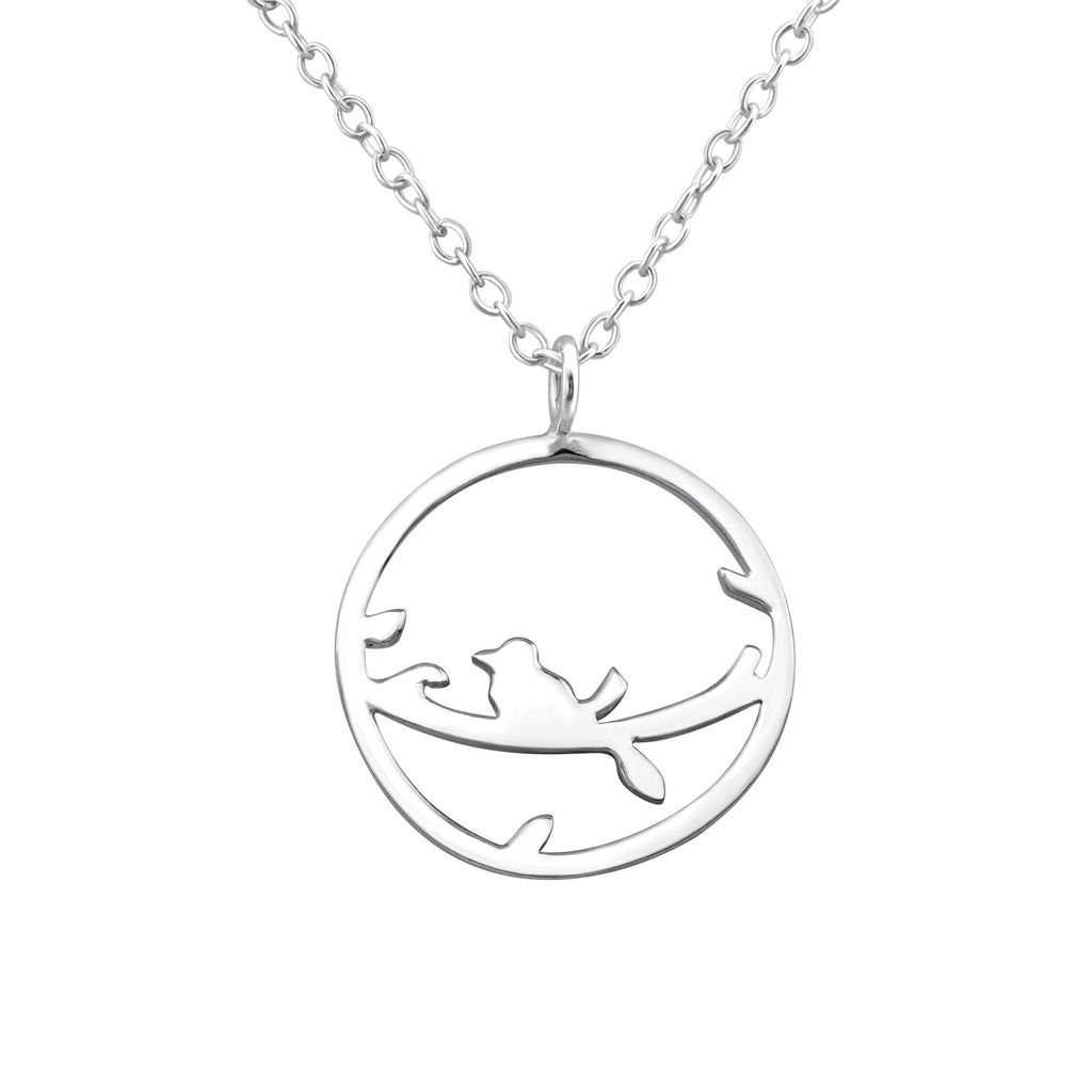 sterling silver bird on a branch necklace - Jenems