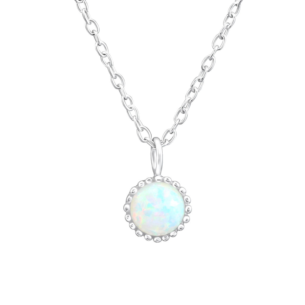 sterling silver round fire snow gemstone necklace - Jenems