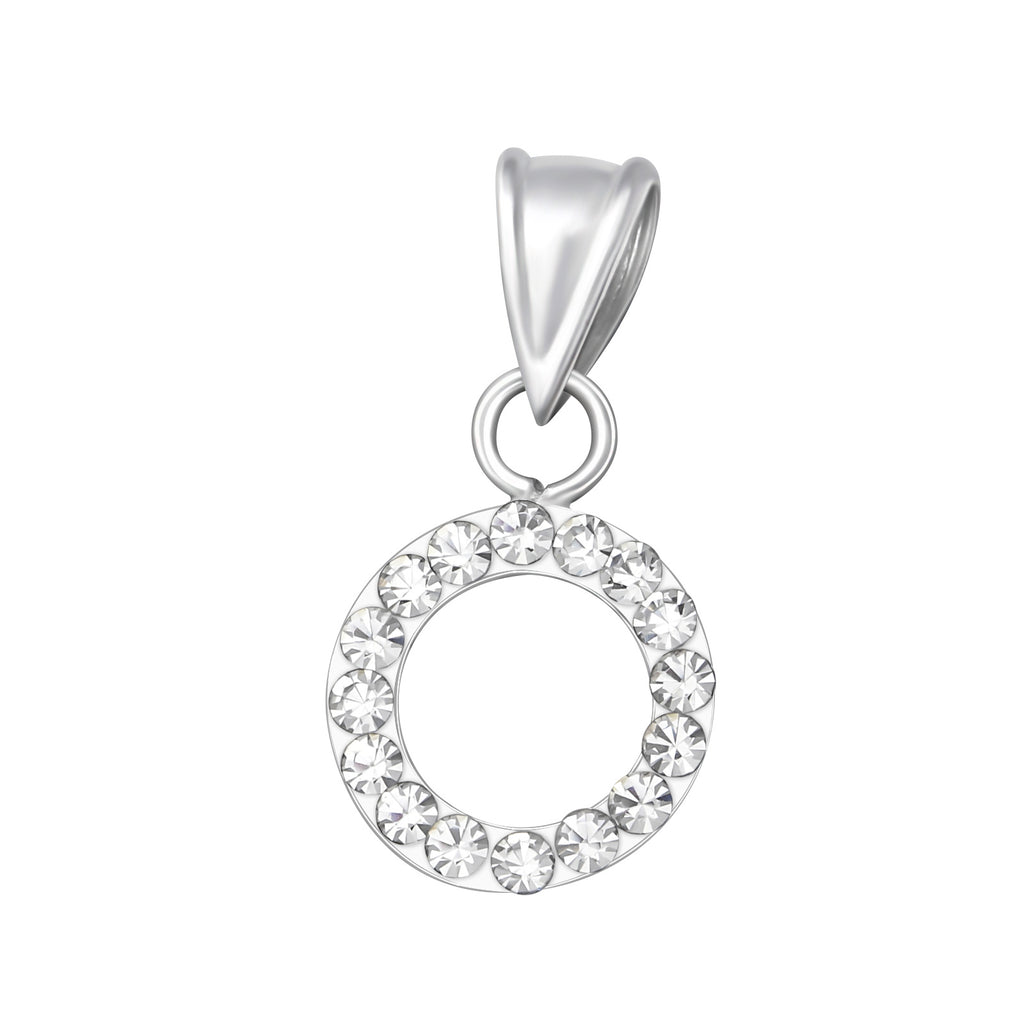 Crystal circle hoop sterling silver necklace - Jenems