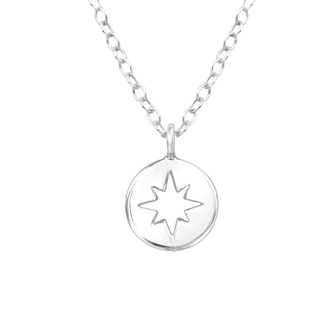 sterling silver circle star necklace - Jenems