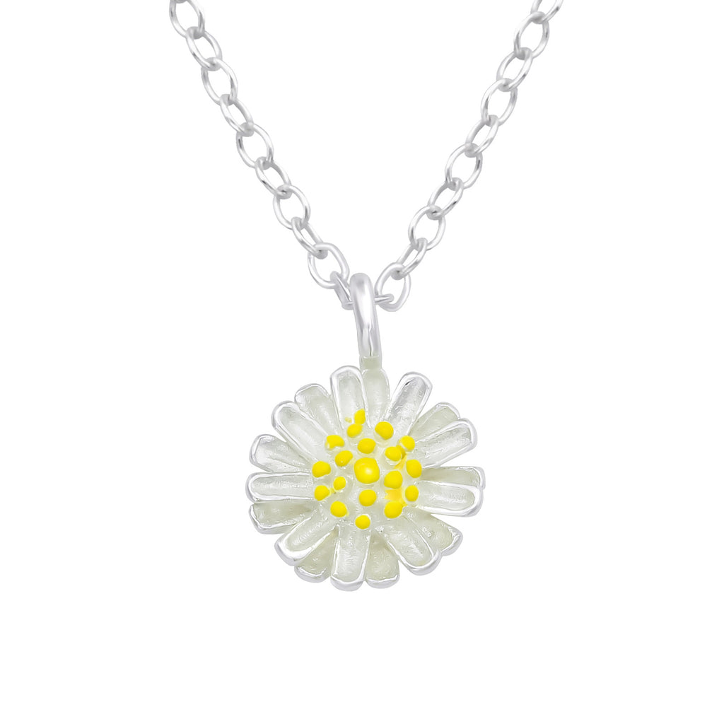 925 sterling silver yellow daisy necklace - Jenems