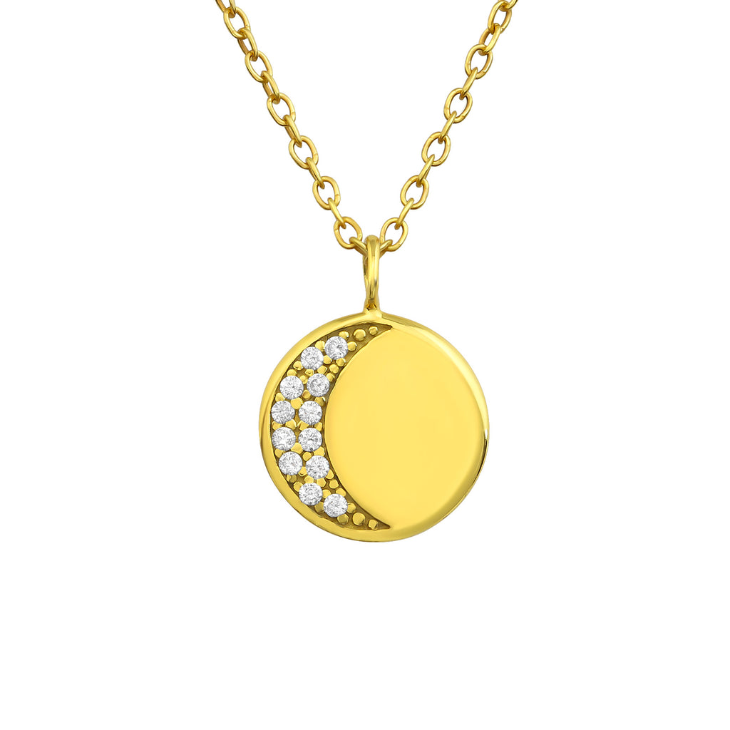 sterling silver gold plated crescent moon necklace