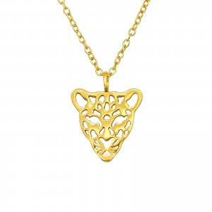 sterling silver gold plated leopard necklace