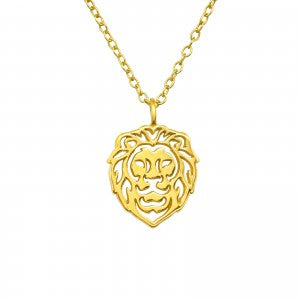 sterling silver gold plated lion necklace