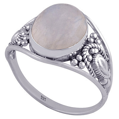 sterling silver circle rainbow moonstone ring - Jenems