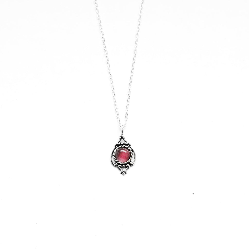 sterling silver dark pink cat eye round necklace - Jenems