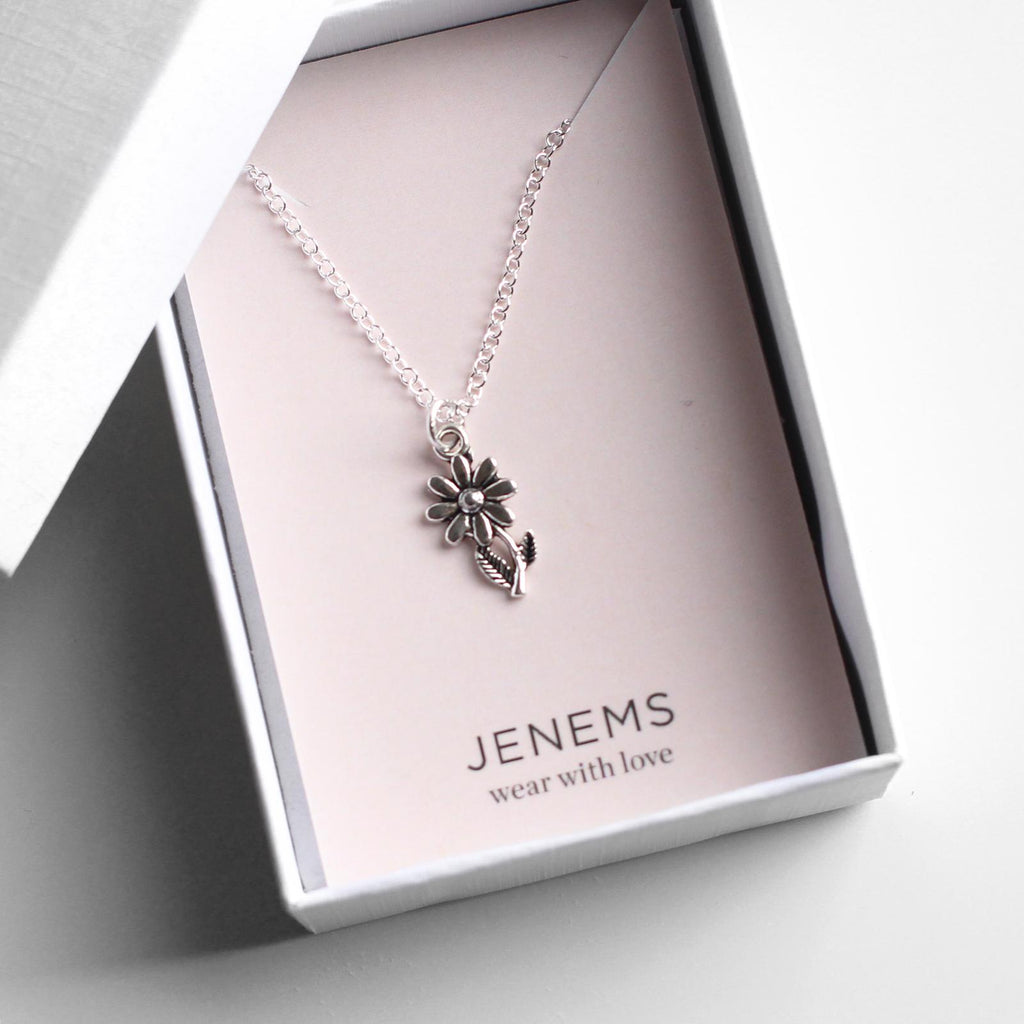 sterling silver flower necklace - Jenems