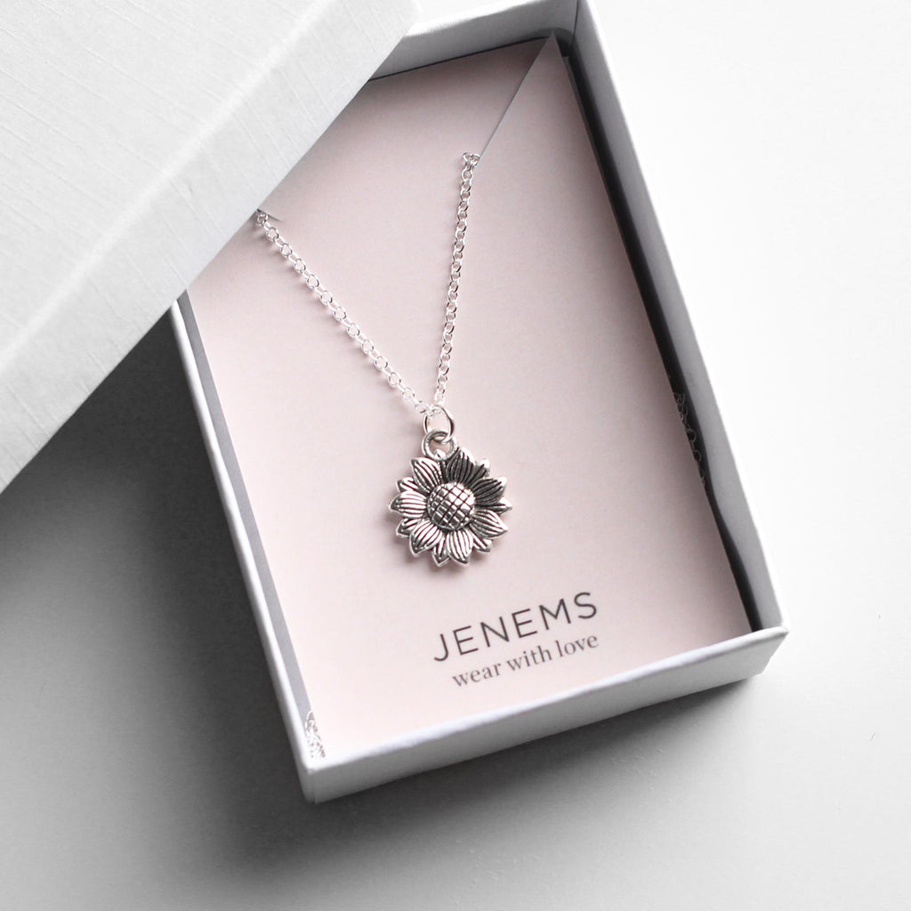 sterling silver sunflower flower necklace - Jenems