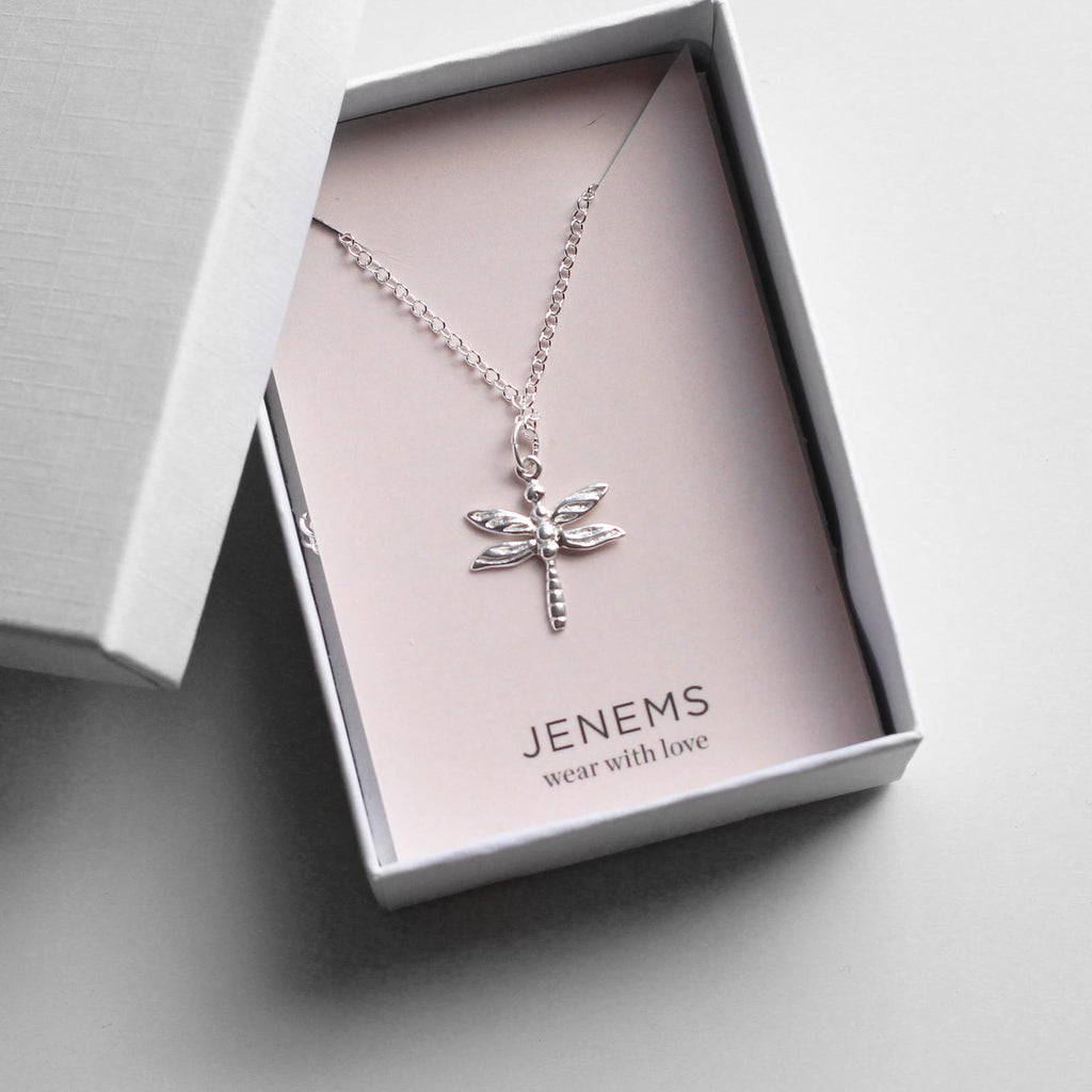 sterling silver dragonfly necklace - Jenems