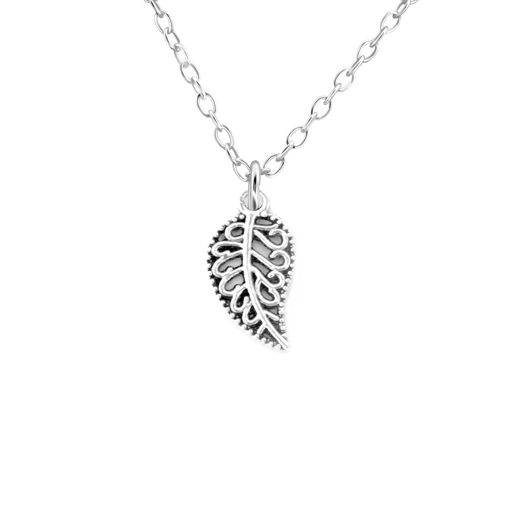 silver paisley leaf autumn necklace - Jenems