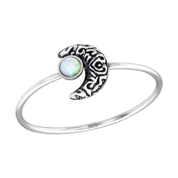 sterling silver opal crescent moon ring