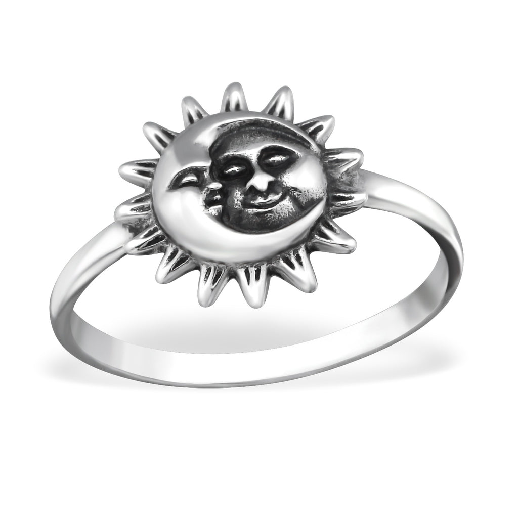 sterling silver sun and moon ring - Jenems