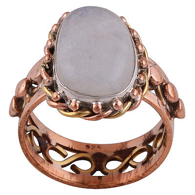 sterling silver copper + brass cabochon rainbow ring - Jenems