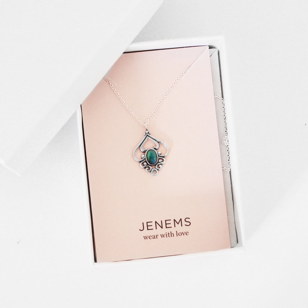abalone dark blue gem flower sterling silver necklace - Jenems