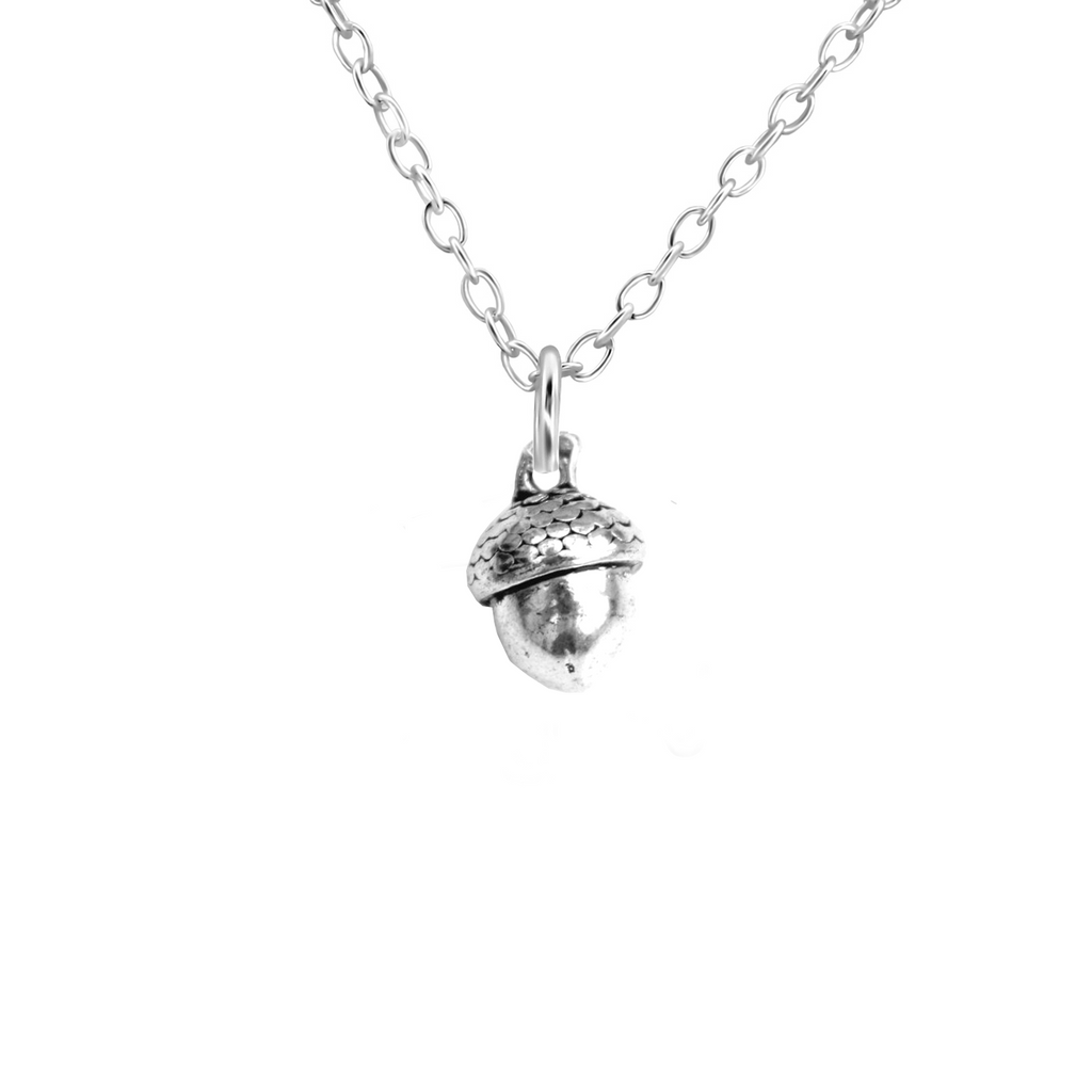 silver acorn necklace - Jenems