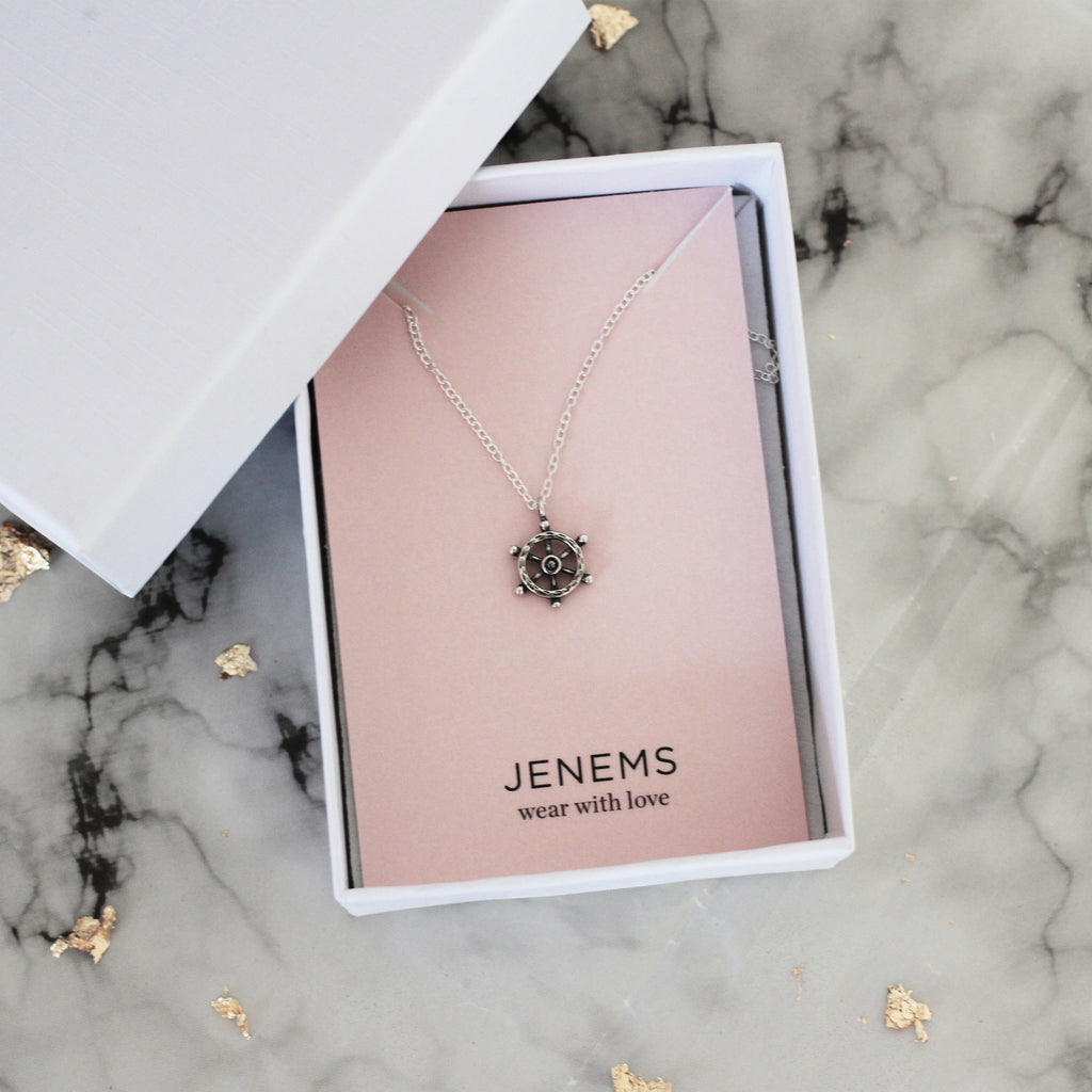 ships wheel sterling silver necklace - Jenems