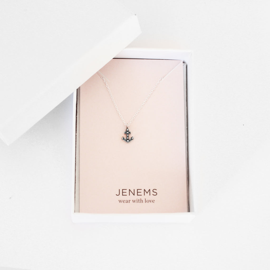anchor sterling silver necklace - Jenems