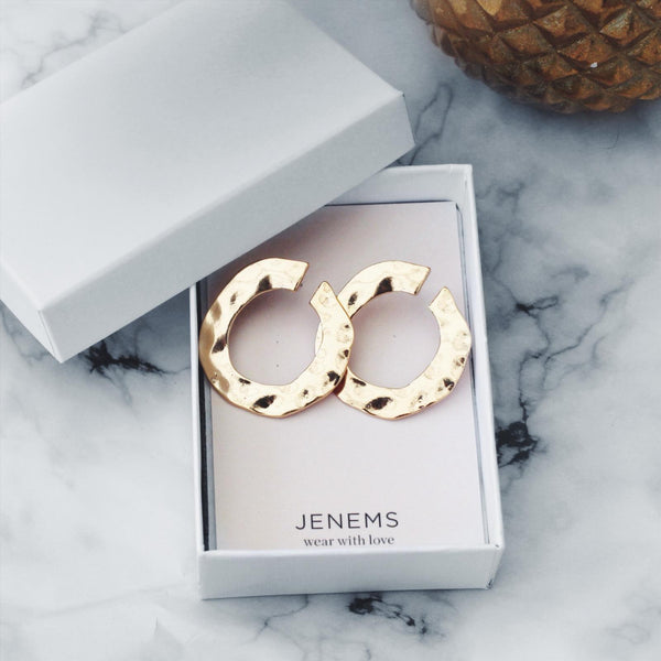 Gold Hoop Pressed Stud Earrings