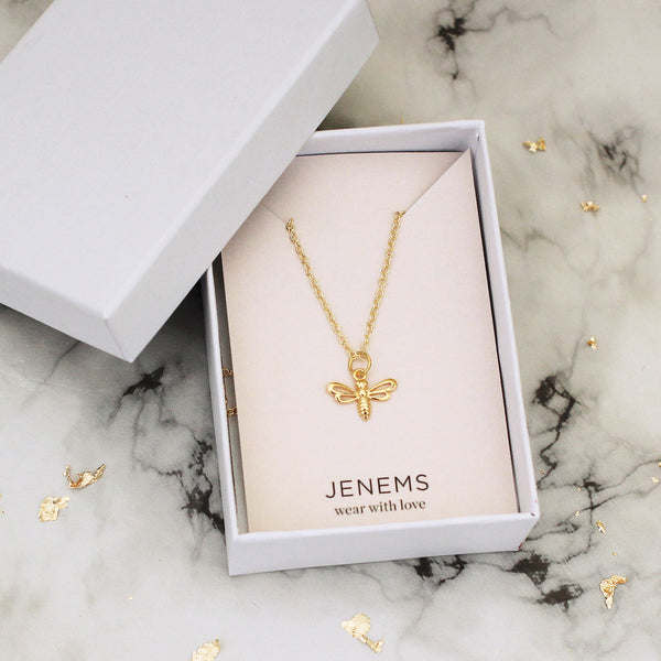 gold vermeil bee necklace - Jenems