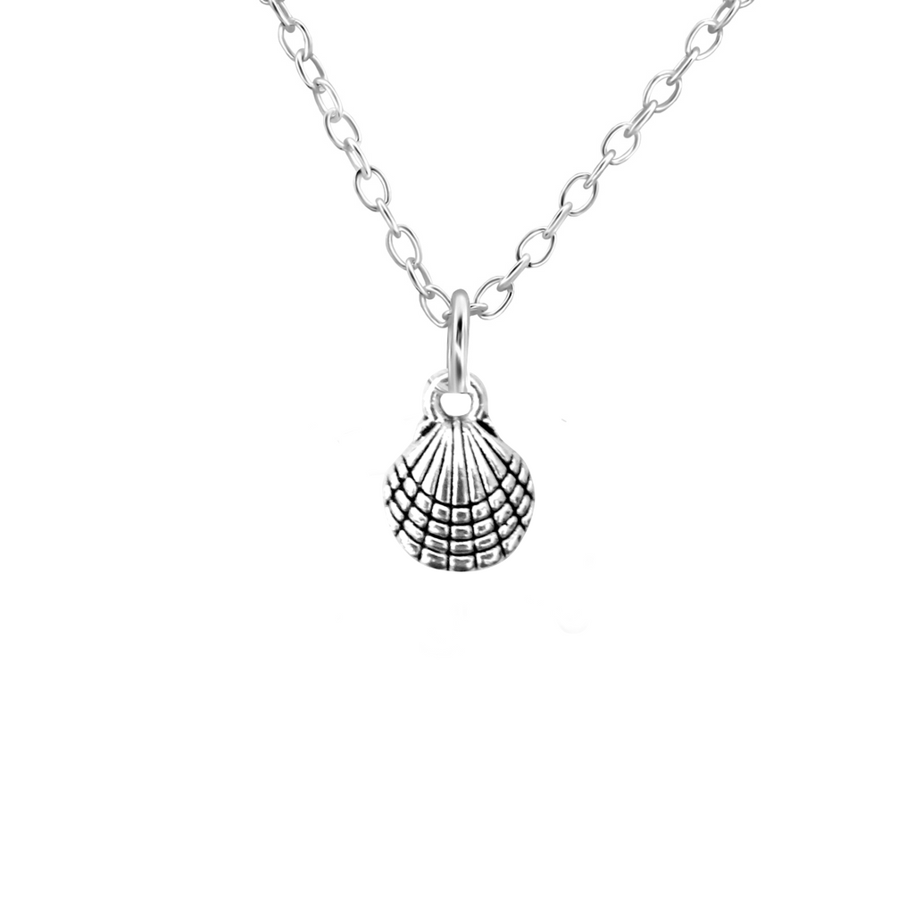 silver sea shell necklace - Jenems