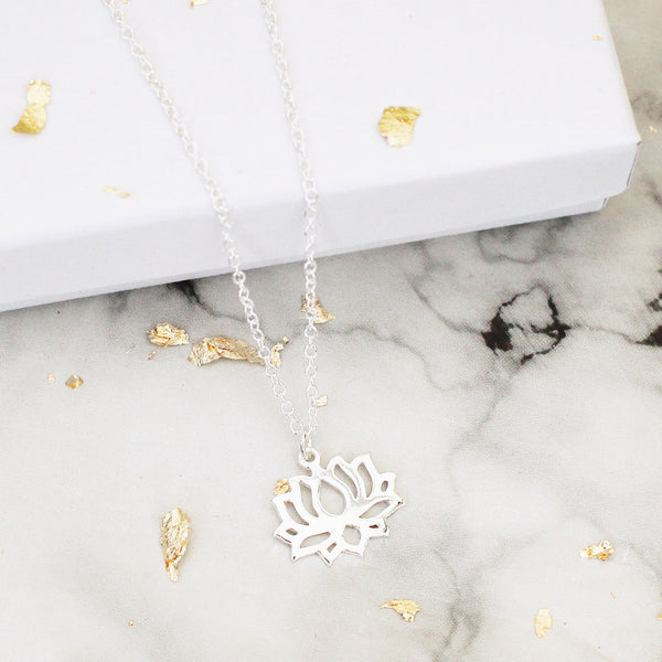 large lotus flower sterling silver necklace - Jenems