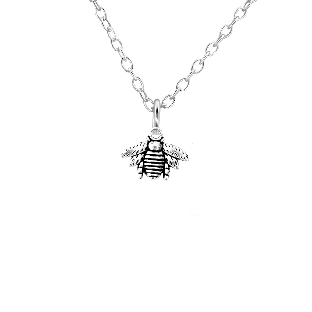 silver bumble bee necklace - Jenems