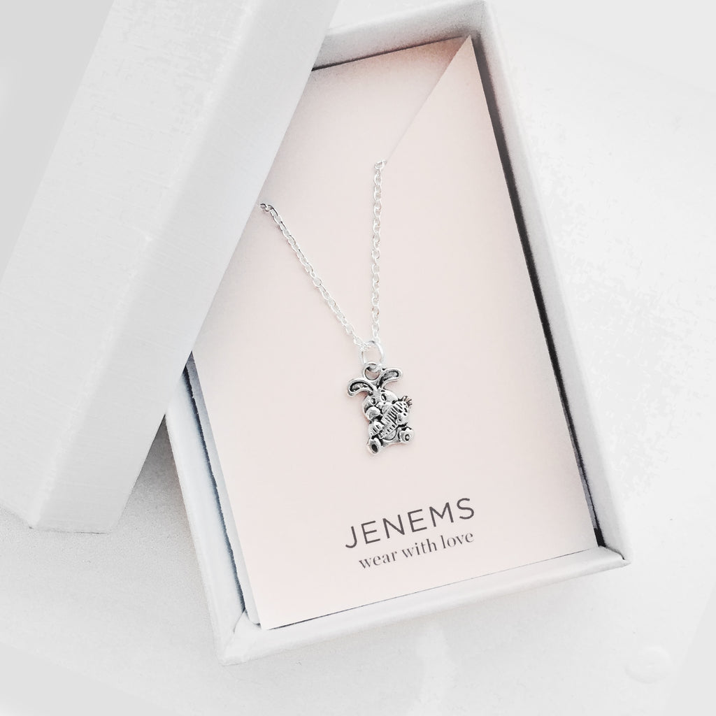 sterling silver easter rabbit with carrot necklace - Jenems