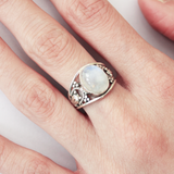 sterling silver circle rainbow moonstone ring