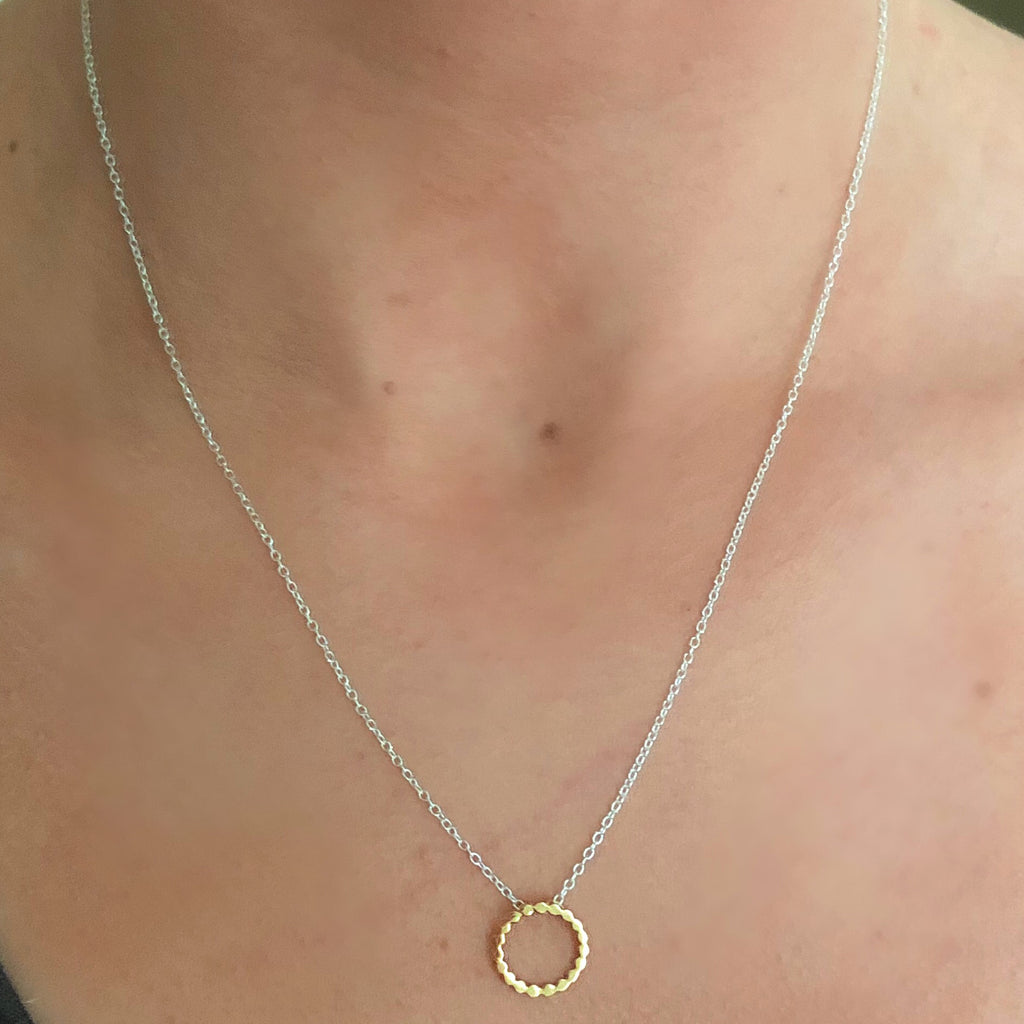 sterling silver gold circle necklace
