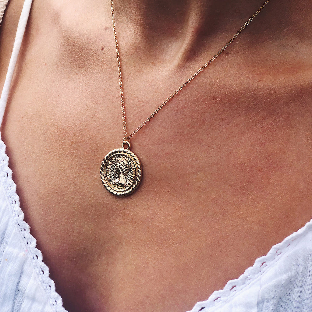 gold coin necklace - Jenems