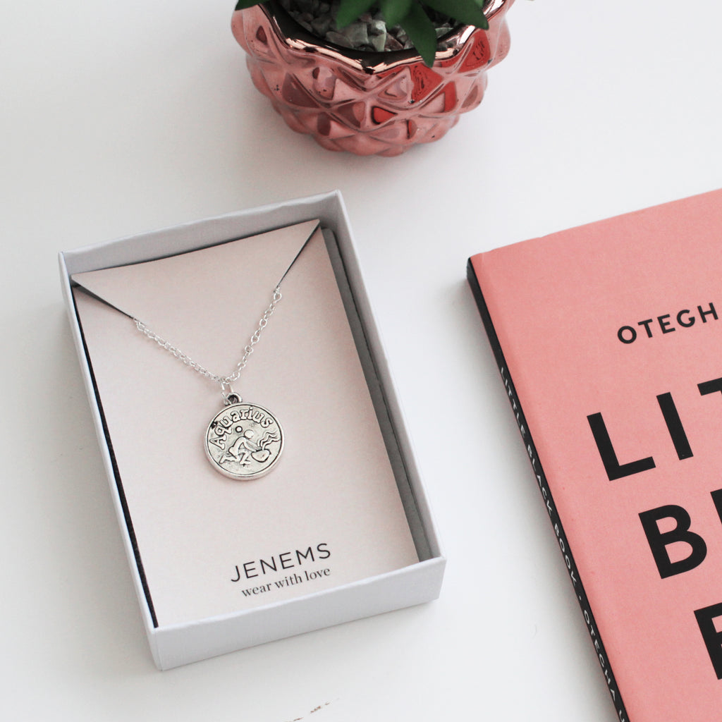 silver zodiac horoscope charm coin necklace - Jenems