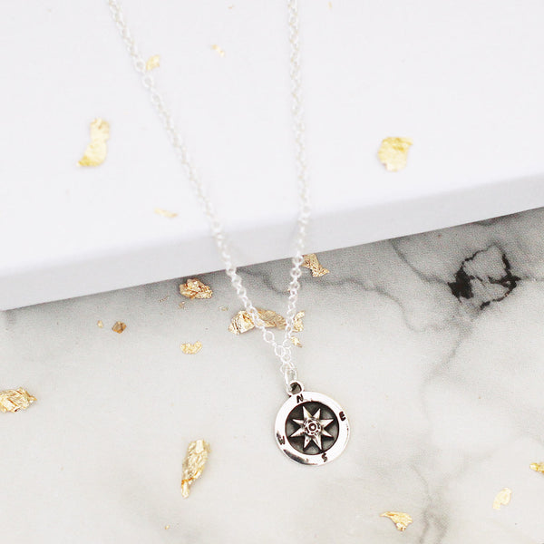 compass sterling silver necklace - Jenems
