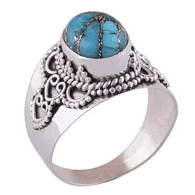 sterling silver ocean blue copper turquoise ring - Jenems
